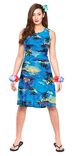 Hawaii Dress - Short Blue (Für Frauen Kostüm National Hawaii)