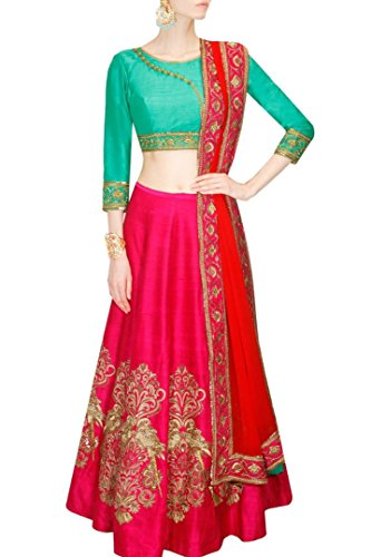 Mashur Fab Women's Silk and Banglory Lehenga Cholis With Blouse Piece (ZARA_LG_GREEN_Color_Free...