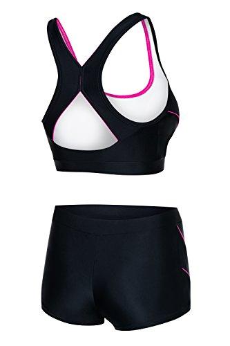 AQUA-SPEED® FIONA SET - Tankini + Slip da bikini | Tessuto VITA | Resistente al cloro/crema solare/olio, Taglia:40, Colore:139 / Black Gray Pink + Hose 08. Schwarz – Pink
