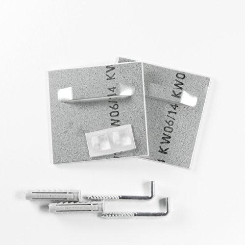 Klebebleche mit Winkelschrauben und Fischer SX8 Dübel Haftbleche Aufhänger für Spiegel AluDibond bis 6 kg (7x7 cm) selbstklebend Komplettset