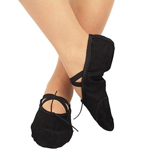 Hougood Ballettschuhe Ballettschläppchen Tanzschuhe für Mädchen und Damen Weich Spitzenschuhe Ballet Trainings Schläppchen Schuhe Gymnastik Tanzen Hausschuhe Größe 30-41 fgrNK