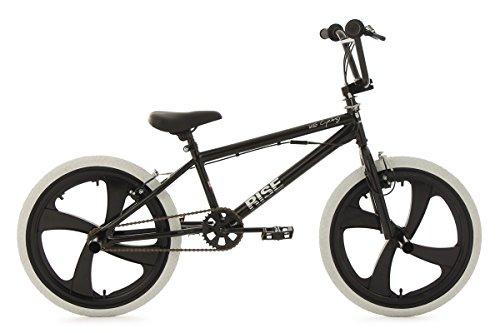 KS Cycling–Bicicleta BMX freestyle Rise con ruedas blancas, Negro, 20, 626b