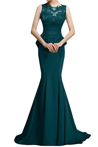 VICTORY Bridal fabuleuses Rouge foncé Pointe Sirène de soir longue StandART42de soirée traîne Blau Gruen