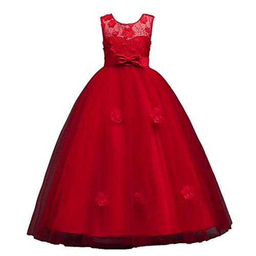 Mädchen Kleid Rock ❤️SHOBDW Blume Kinder Mädchen Kleid Prinzessin formale Festzug Urlaub Hochzeit Brautjungfer Kleid für Fasching (120/5Jahr, X-Rot)