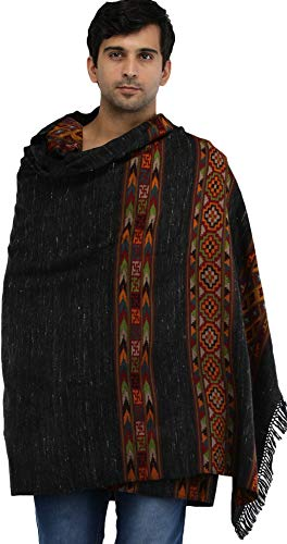 762de71ac Exotic India Phantom-Black Men's Shawl from Kullu with Kinnauri Woven  Triple Border in Multicolor