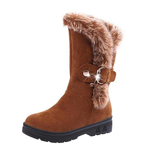 Damenwinterstiefel | Klassische Wildleder FlacheStiefel | Biker outdoor Boots | Slip-On Schnee Freizeit Schuhe | Faux Pelz Stiefeletten mit klettverschluss | FORH (Khaki, 39) (Muster Häkeln Stiefel)