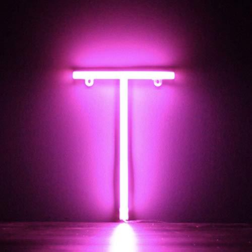 Smiling Faces Letrero de luz LED de neón rosa Letras - Colgante de pared alimentado por batería - Letra T