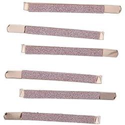 LUX Zubehör Rose Gold Ton Aufkleber Glitzer Metall Haarspange Bobby Pin-Set 6-teilig