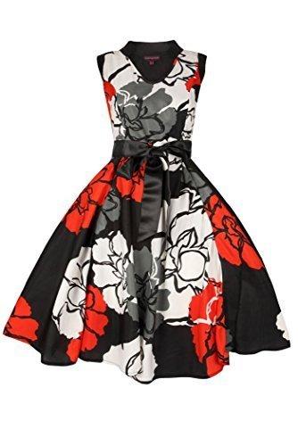 Damen Kleid Retro Vintage 50er Rock N Roll Blumenmuster EU 38-46 Schwarz