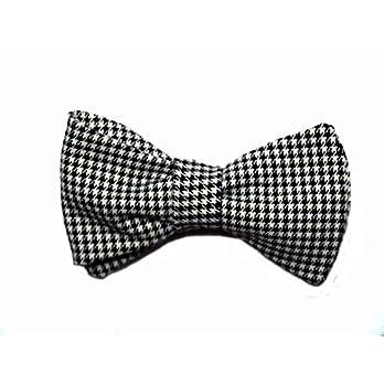 Handgenähte Herren Anzug – Fliege schwarz weiß kariert/Schleife zum Selbstbinden – Selbstbinder – Querbinder