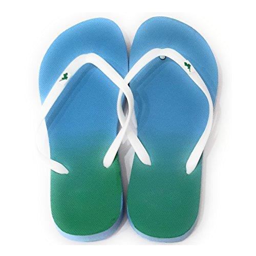 Donna Infradito Per Spiaggia e Piscina Sole Intonazione Blu Verde, Nastro Bianco