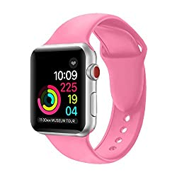 Apple Watch Strap 38mm,soft Silicone Band Replacement Wrist Strap For Apple Watch Sport Series 3 Series 2 Series 1 (38mm Bright Pink)