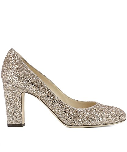 Jimmy-Choo-Womens-BILLIE85SA0BALLETPINK-Gold-Leather-Pumps