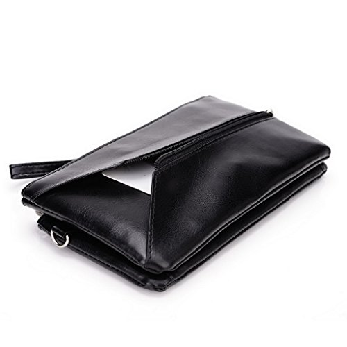 Kroo Pochette Portefeuille en Cuir de Femme avec Bracelet double Étui pour Sony Xperia C3 noir - Noir/rouge noir - Noir/gris