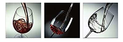 Wieco Art - Wine and Cups 3 Panels Modern Giclee Canvas Prints Artwork on Stretched and Framed Canvas Wall Art Ready to Hang for Home Decoration Wall Décor