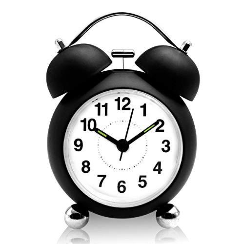 UBEGOOD Wecker Analog,Doppelglockenwecker mit Nachtlicht Geräuschlos Nostalgie Elektronischer Glockenwecker kein Ticken großes Zifferblatt von 4 Zoll Analog Quarzlaufwerk (Schwarz)