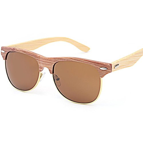 Classic Sommer Farbreflektierende Sonnenbrille Herren Damen, DoraMe Männer Frauen 2018 Mode Vintage Bambus Sonnenbrille Reise Brille Bein Holz Gläser Fahrbrille Anti-Reflection Nachtsichtbrille (A, 145)