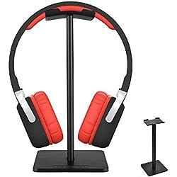 aceyoon Soporte Auriculares Cerrados Desmontable Metal Grueso Aluminio + TPU + ABS Headphone y HeadsetHanger Resistente Gaming AuricularSoporte para Over Ear Auriculares con / sin Cable, Negro