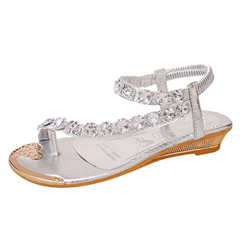 YEARNLY Sandalen Damen Sommer Elegant Böhmen Blumen-Perlen Flip-Flop Schuhe Flache Sandalen Schuhe Mode Strandschuhe Zehentrenner Pantoletten Riemchensandalen -