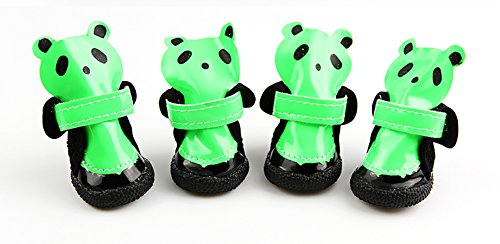 XiYunHan Haustier-beiläufiger Stiefel, Lederne Wasserdichte Rutschfeste Hundeschuhe Frühlings-Sommer-Modelle Klettverschluss-Band haltbarer Oxford 4 PCS Kleiner Hund Panda-Schuhe 3 Farbe u. 5 Größe