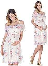 Chiffon Maternity dress Womens Off Shoulder Chiffon Casual Dress Maxi Evening Dress Knee Length Bodycon Matern