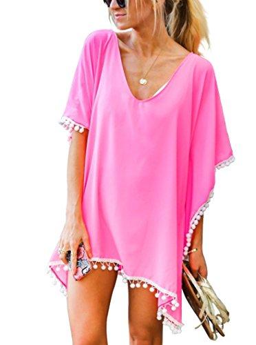 Damen Strandponcho Sommer Überwurf Kaftan Strandkleid Bikini Cover Up Freie Größe Hell Pink