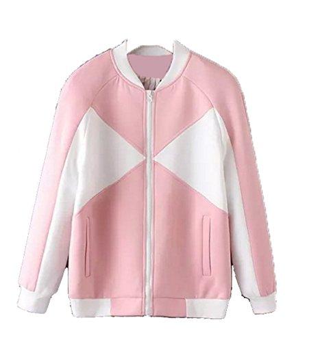 IWFREE Damen Jacke Herbst Bomber Jacke Piloten Baseball Mantel Outwear Tops Coat Bomberjacke Kurz Jacke mit Stehkragen Outwear Raum Baumwolle (Denim Fell Cord)