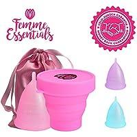Copa Menstrual Femme Essentials + Caja de Almacenamiento Esterilizadora |100% de Silicona Hipoalergénica para Uso Médico - Ecológica, Segura, Cómoda y Higiénica | Tamaño: Grande | Color: Rosa