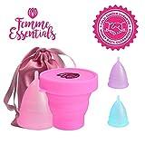 Femme Essentials Cup menstruelle | Coupe menstruelle hygiénique| en silicone médical, avec stérilisateur de cup, instructions et sac de rangement en satin | Menstrual cup | Couleur: Rose (L)
