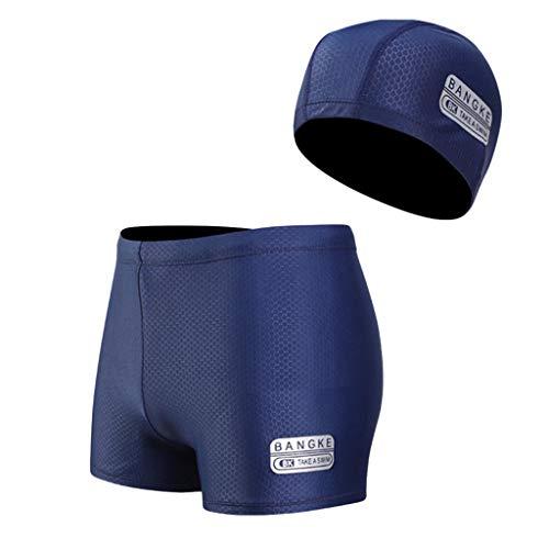 Scrolor Bademode Strandkleidung Herren Nylon Atmungsaktive Bulge Slip Männer Badehose Badekappe Anzug für Sommer Surfen(Blau,XXXL)