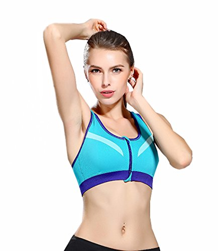 �fest Schnalle Freiheit Wireless Front Zipper Fitness Sport BH (Hummel Stirnband)
