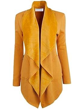 YuanDian Mujer Otoño Casual Color Sólido Abierto Solapa Ancha Abrigo Cardigan Rebecas Largas Elegante Dama Sueter...