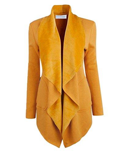 t Casual Einfarbig Breite Revers Warme Offene Lange Cardigan Strickjacke Elegante Frauen Mantel Gelb 2XL ()