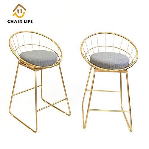 Barhocker Schmiedeeisen Tische und Stühle Bar Möbel Leinen Kissen Arc Rückenlehne Küche Frühstück Counter Stuhl Mehrere Farbe Höhen verfügbar,Gold,75cm