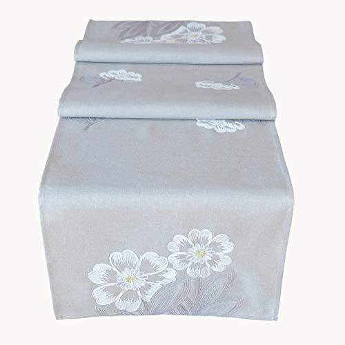 Raebel Chemin de Table pour Pâques Motif Fleurs et Feuilles Gris, Polyester, Gris/Blanc, 40 x 140 cm