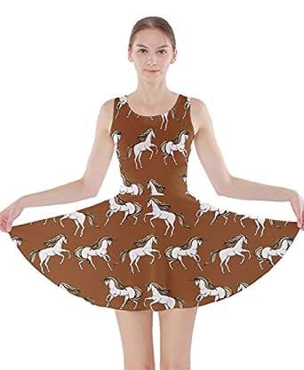 CowCow Abito da donna, fantasia floreale con unicorni, a pieghe, XS-5XL Brown XXX-Large
