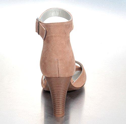 Marion Spath Damen 344-906 Wildleder Designer-Sandale Fesselriemchen Nude
