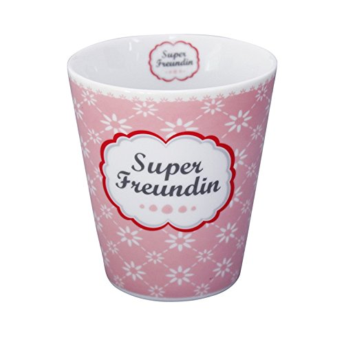 Krasilnikoff Mug/Henkelbecher/Kaffeetasse - Super Freundin - Porzellan - Höhe 10 cm