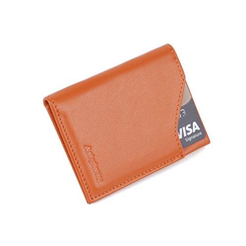 YRTECH Cartera frontal de bolsillo para hombres Bloqueo RFID Tarjeta de crédito Cartera de cuero genuino (delgado-marrón)