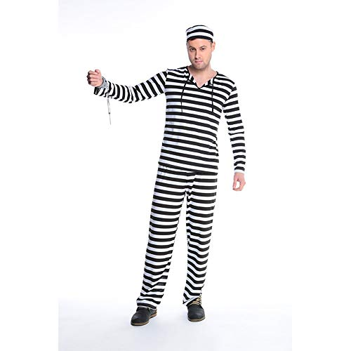 Kostüm Mens Clown Scary - WANLN Halloween Kleid für Frauen Liebhaber Horror Bloody Zombie Männer Kleidung Prisoner Disguise Karneval Maskerade Streifen Scary Kostüme,Man,M