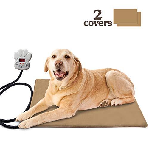 Osaloe Heizkissen für Haustiere, Haustier Heizkissen Elektrisch Wärmematte für Hunde und Katzen mit 7 Einstellbare Temperatur Kaubeständige Schnur 2 Abdeckungen EntfernenÜberhitzungsschutz