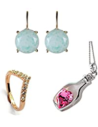 Sonago Creations Combo Of Pink Heart Pendant With Golden Ring And Sea Green Drop Earrings