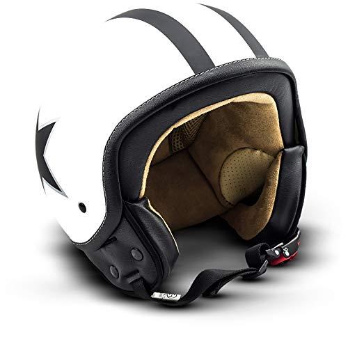 SOXON SP-301-STAR White Motorrad-Helm Roller-Helm Jet-Helm Bobber Scooter-Helm Pilot Cruiser Vintage Mofa Chopper Helmet Biker Vespa-Helm Retro, ECE zertifiziert, inkl. Stofftragetasche, Weiß (Star), L (59-60cm)