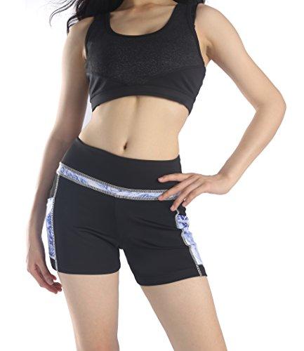 Munvot Tailored Geschenke kurze Sport Leggings Damen Sporthose Fitnesshose Yoga Leggings Sporthose für Damen(Ozean Blau (Kurze Hose) M)