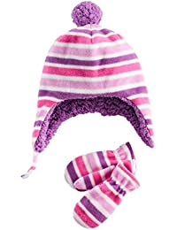ABG Accessories Infant Girls Pink   Purple Stripe Fleece Trapper Hat   Mittens  Beanie Set 9 107c156d4070