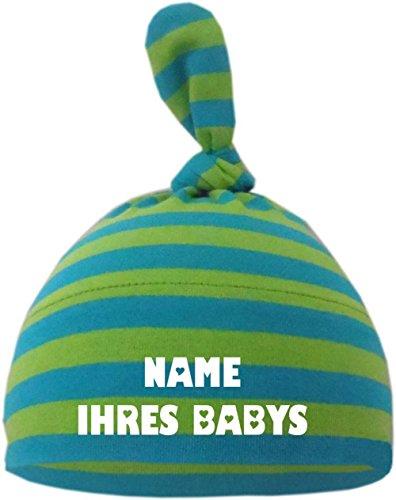 KLEINER FRATZ Baby Mütze Bedruckt mit Namen des Kindes (Farbe Lime/royal) (Gr. 1 (0-74)) - Kleine Kinder Lime Bekleidung