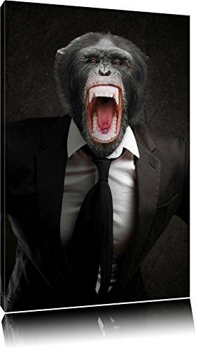 Wütender Affe im Anzug Format: 120x80 auf Leinwand, XXL riesige Bilder fertig gerahmt mit Keilrahmen, Kunstdruck auf Wandbild mit Rahmen, günstiger als Gemälde oder Ölbild, kein Poster oder Plakat