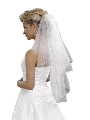 Velo di sposa 2piani con pietre Swarovski, lunghezza di anca crema 80/60 cm