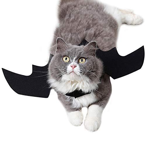 FJROnline Lustiges Katzenkostüm für Halloween, Fledermausflügel, Schwarze Katze, Fledermaus-Kostüm für Hunde und Katzen (Schwarze Katze Fledermaus Kostüm)