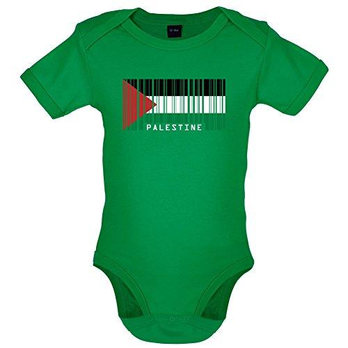 Palestine / Palästina Barcode Flagge - Lustiger Baby-Body - Leuchtend Grün - 0 bis 3 Monate